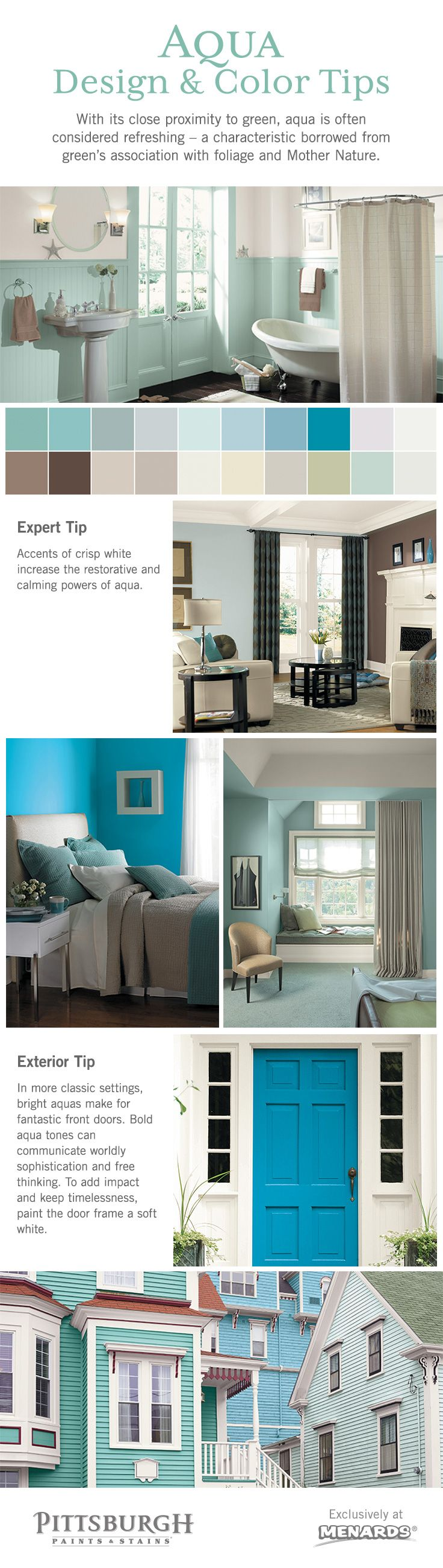 Aqua Color & Design Inspiration! With its close proximity to green, aqua is often considered refreshing – a characteristic borrowed from green's association with foliage and Mother Nature.  Pale and pastel shades of aqua communicate such refreshed energy in a mild and gentle delivery, creating a nurturing and encouraging feeling. For this reason, aqua hues are ideal for children's rooms, family rooms, and bathrooms designed with a spa-like theme.