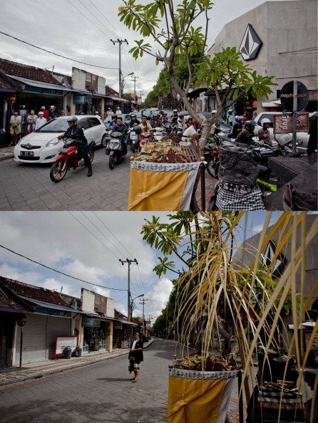 In this composite image an active Legian street at Kuta is seen on March 9, 2013 and bottom, the same street is seen on Nyepi day on March 12, 2013 in Denpasar, Bali,