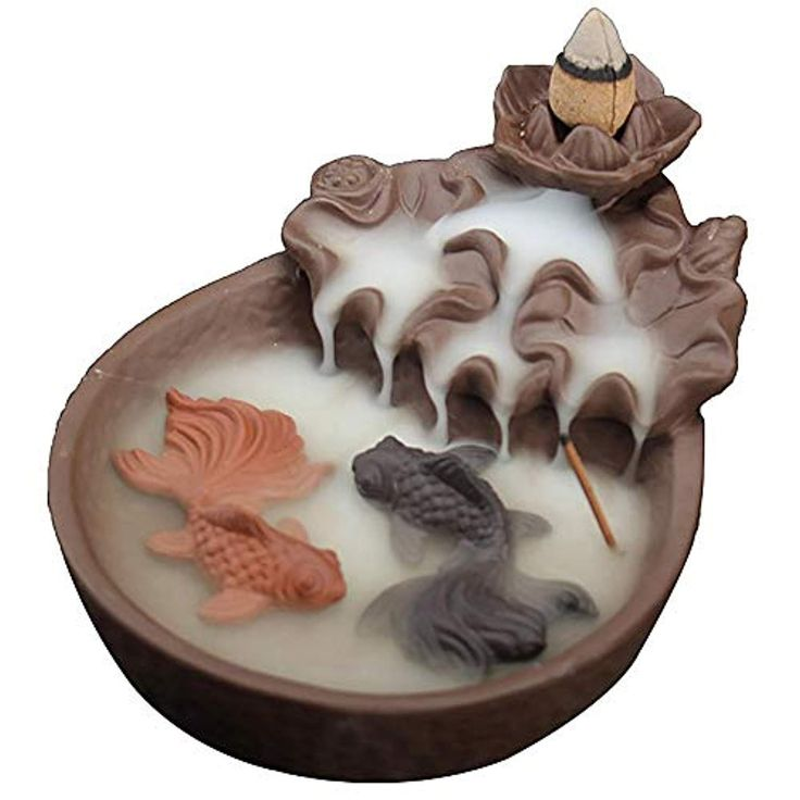 Fish Dreamys Dragon Incense Burner Ceramic Handcrafted Backflow Incense Burners for Office Home Decor with 10PCS Incense Cones