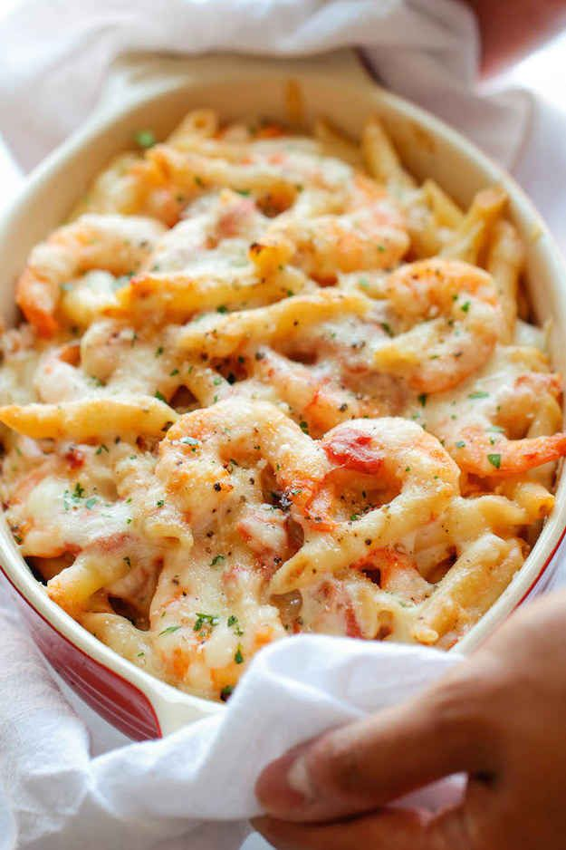 Shrimp Alfredo Pasta Bake