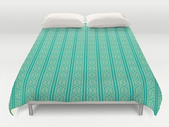 Turquoise Duvet Cover, Green Bedding, Blue Comforter, Turquise Bed Cover, King Queen Full Twin, Size, Turquoise Bedspread, Green Duvet Cover