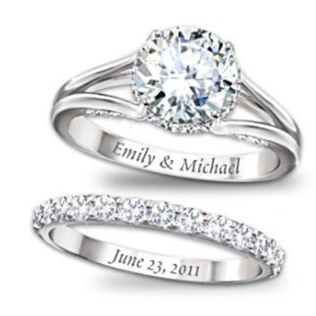 put your names on the engagement ring, and wedding date on the wedding band.... Love this idea!!