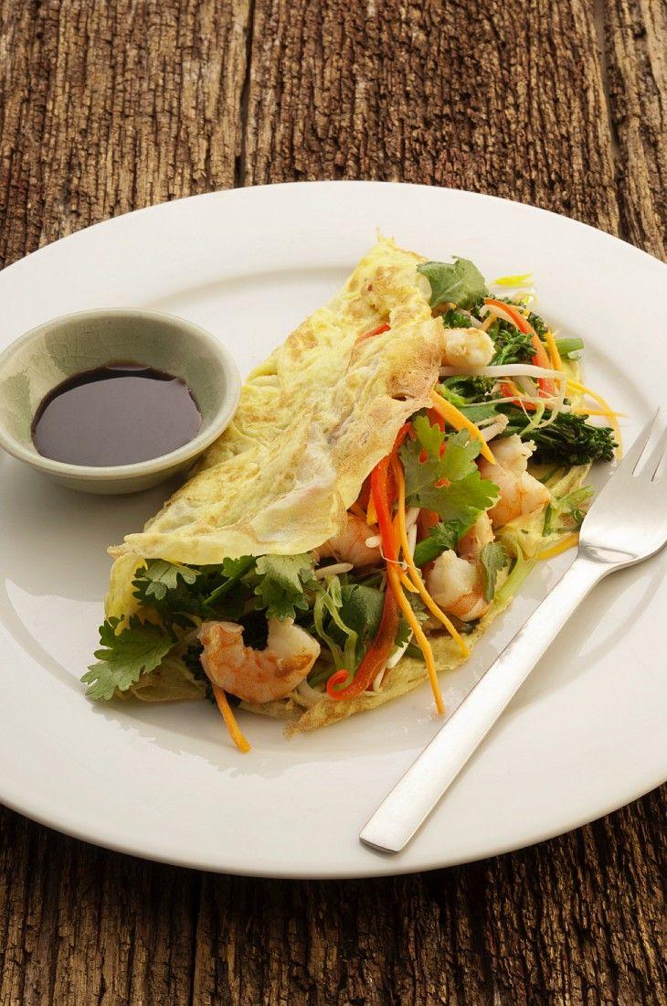 Schnelles Garnelen-Omelette mit Brokkoli | http://eatsmarter.de/rezepte/garnelen-omelette