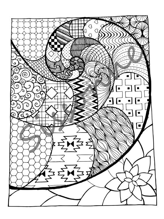 Zentangle Inspired Golden Spiral Coloring Page
