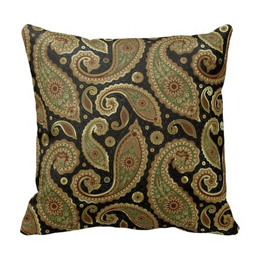 Gold Brown Throw Pillows : Gold Brown And Green Pastel Tones Vintage Paisley Throw Pillow Brown, Green and Vintage