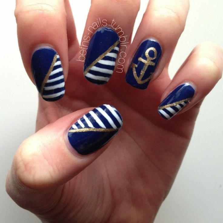 Uñas Nauticas, mas de 40 ejemplos – Nautical Nails | Decoración de Uñas - Manicura y Nail Art