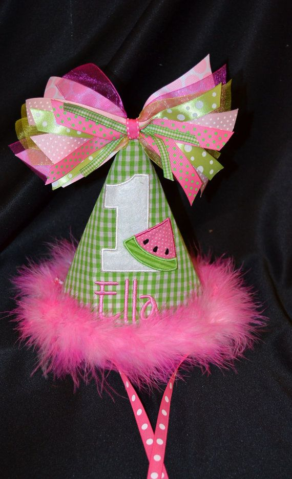So cute! 1st Birthday Party Hat customized with NAME and number 1- 2-3 etc..Watermelon Theme on Etsy, $29.95