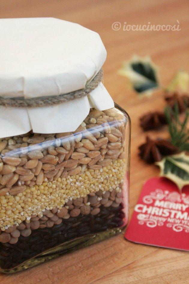Preparato per zuppa di lenticchie e cereali - Ricetta in barattolo da regalare