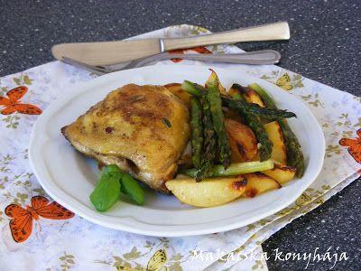Makacska konyhája: Currys sült csirke sütőben sült spárgával, krumpli...