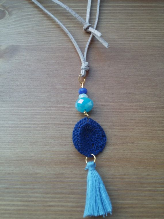 Handmade necklace with blue details by toocharmy on Etsy