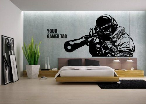 Call of Duty style SNIPER + GAMER TAG COD Boys Bedroom wall art sticker PS3 XBOX 28 colours SZSSG (1150mm x 750mm)