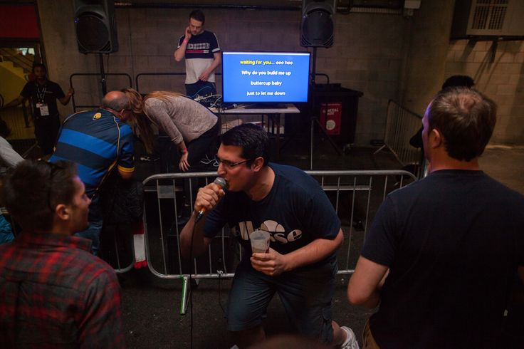 Build me up, Buttercup... Karaoke taking place in the stadium on Match Days