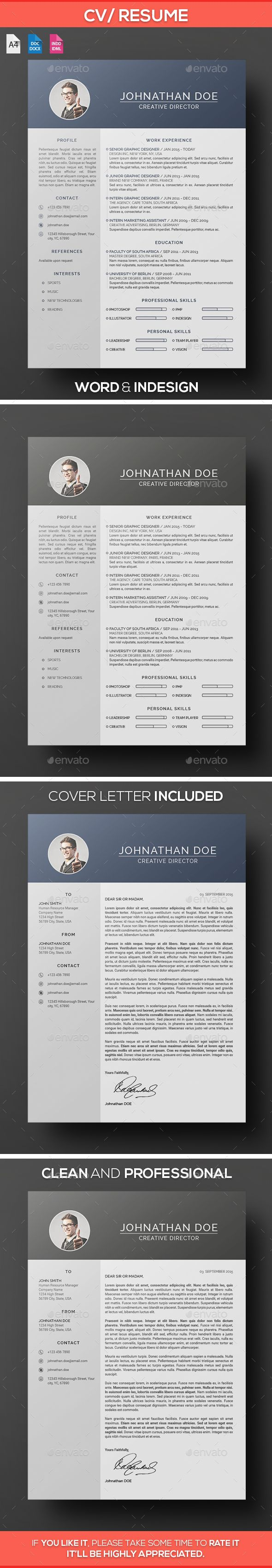 Word Cv Templates 2007%0A Clean Resume   CV Template InDesign INDD  design Download   http   graphicriver