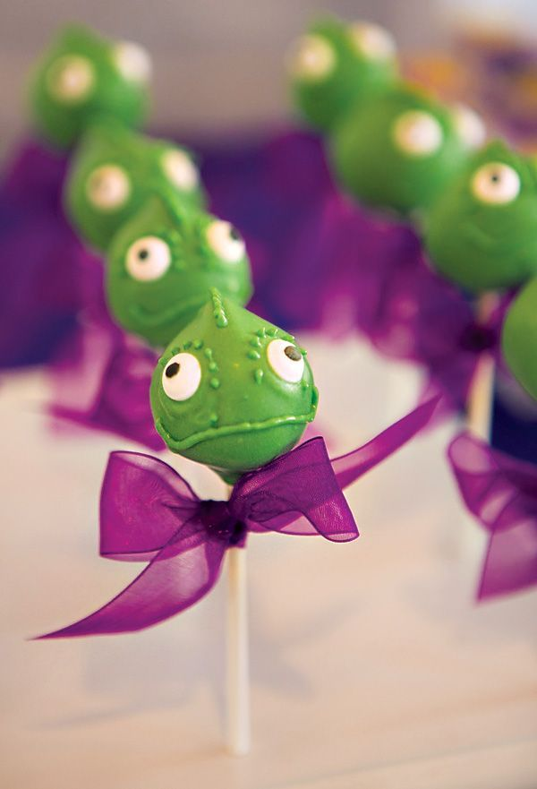 A Tangled Birthday Party with Pascal cake pops!