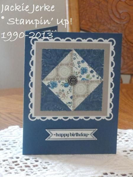 handmade quilt card: LOVE April Snow Days!! by JJ Rubberduck - Cards and Paper Crafts at Splitcoaststampers ... like the presentation ... Stampin' Up!