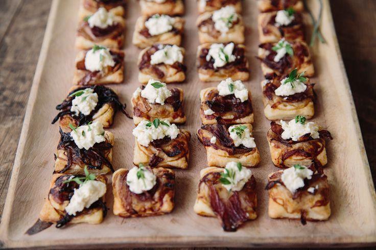 Caramelised Onion & Persian Fetta Tarts www.essentialcaterer.com.au
