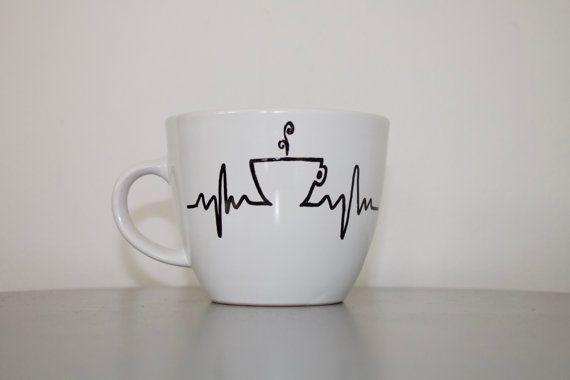 My Heart Runs on Coffee Handpainted Coffee Mug by SwirledPatina