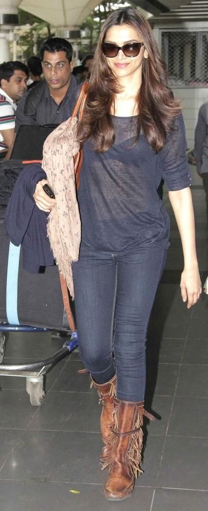 Deepika Padukone at Mumbai airport #Bollywood #Style #Fashion
