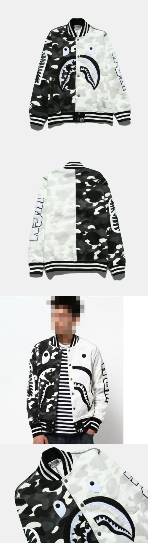 Outerwear 155195: Bape A Bathing Ape Shark Mouth Unisex Button Casual Sports Baseball Coat Jacket -> BUY IT NOW ONLY: $47.94 on eBay!