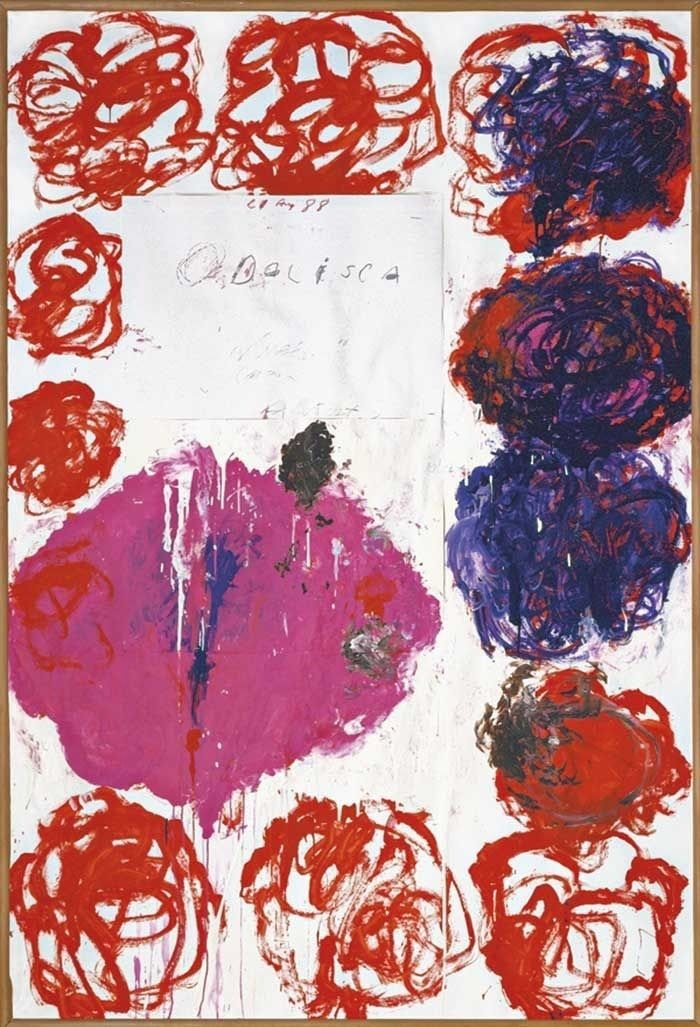 Cy Twombly (American, 1928-2011), Untitled (Odalisca), 1988. Collage, acrylic, house paint, wax crayon, and felt-tip pen on paper, 220 x 150 cm