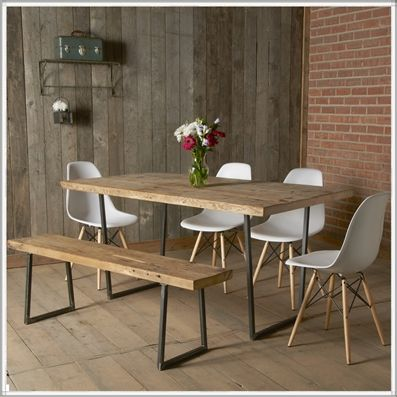 Modern Rustic Reclaimed Wood Dining Table Bench that can slide under table and 4 chairs to accompany