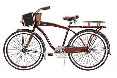 "Huffy Commuter Bike Men's Cruiser 26"" Red Comfort City Beach Bicycle Rear Rack"