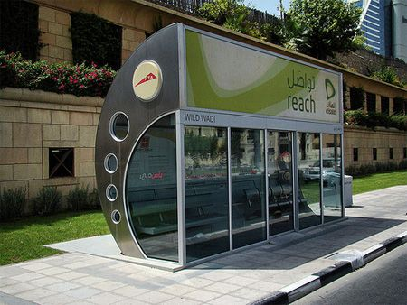Sleek, airconditioned bus shelter in Dubai.