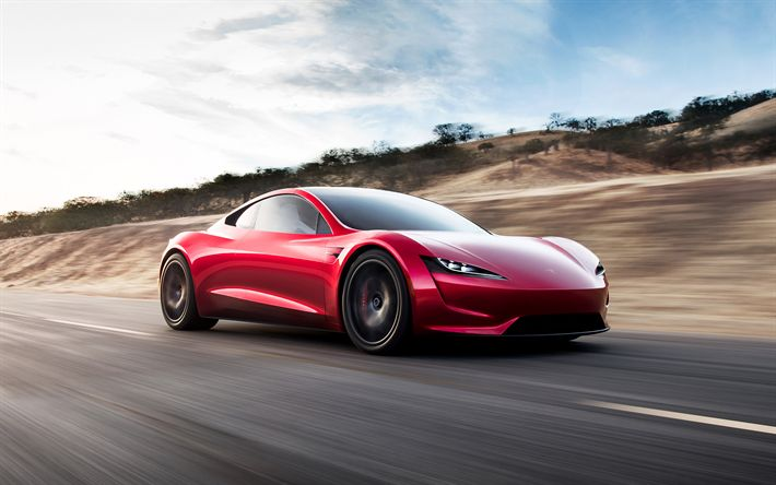 Download wallpapers Tesla Roadster, 2020, Electric sports car, sports red coupe, American cars, Tesla