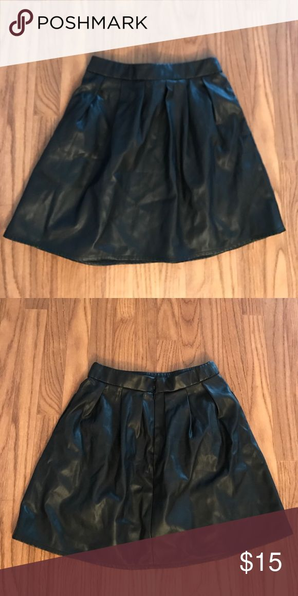 Faux Leather Skater Skirt Size: S | Black faux leather skater skirt Skirts Circle & Skater