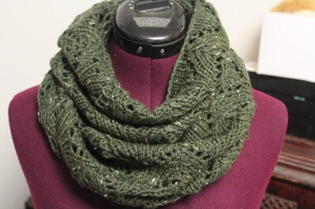 (6) Name: 'Knitting : Lacey Arches Infinity Scarf