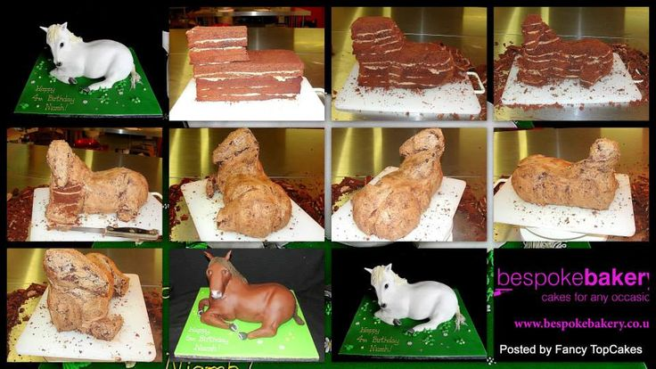 "An excellent Step-by-step tutorial ""How to carve a Pony cake"" _cake in stages_. Thanks to Bespoke Bakery (on facebook) for sharing this great tutorial with us. Please find a link to her step-by step tutorial and descriptions in the first comment ↓ And have a look at her other gorgeous creations while you are there you won't regret!"