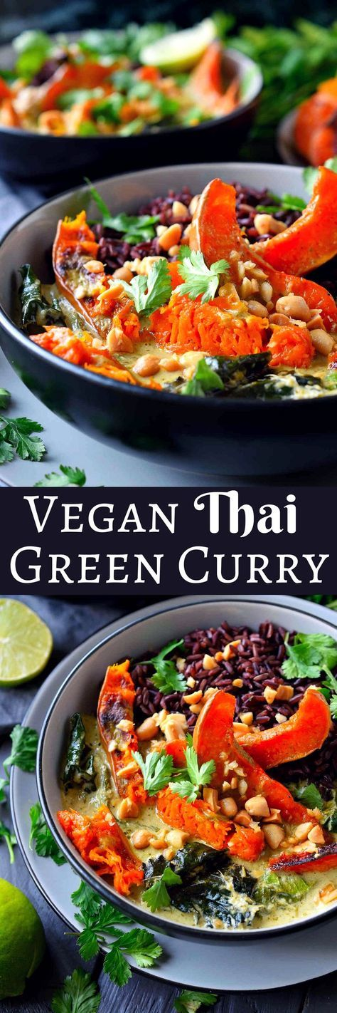 This vegan green curry recipe with winter vegetables features sweet, delicious roasted butternut squash and fresh winter greens in a simple and creamy homemade coconut green curry sauce. You can make it as mild or as spicy as you want and is a beautifully colourful way to use the best of winter's seasonal produce.