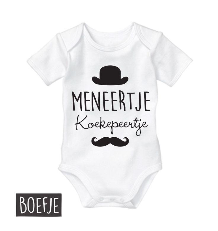 Meneertje Koekepeertje Rompertje, - Original - Boefjes & Bijtjes. Zwart, wit, lichtblauw of zachtroze. Maat 50/56 - 62/69 - 74/80 - 68/92. Kraamcadeau tip!
