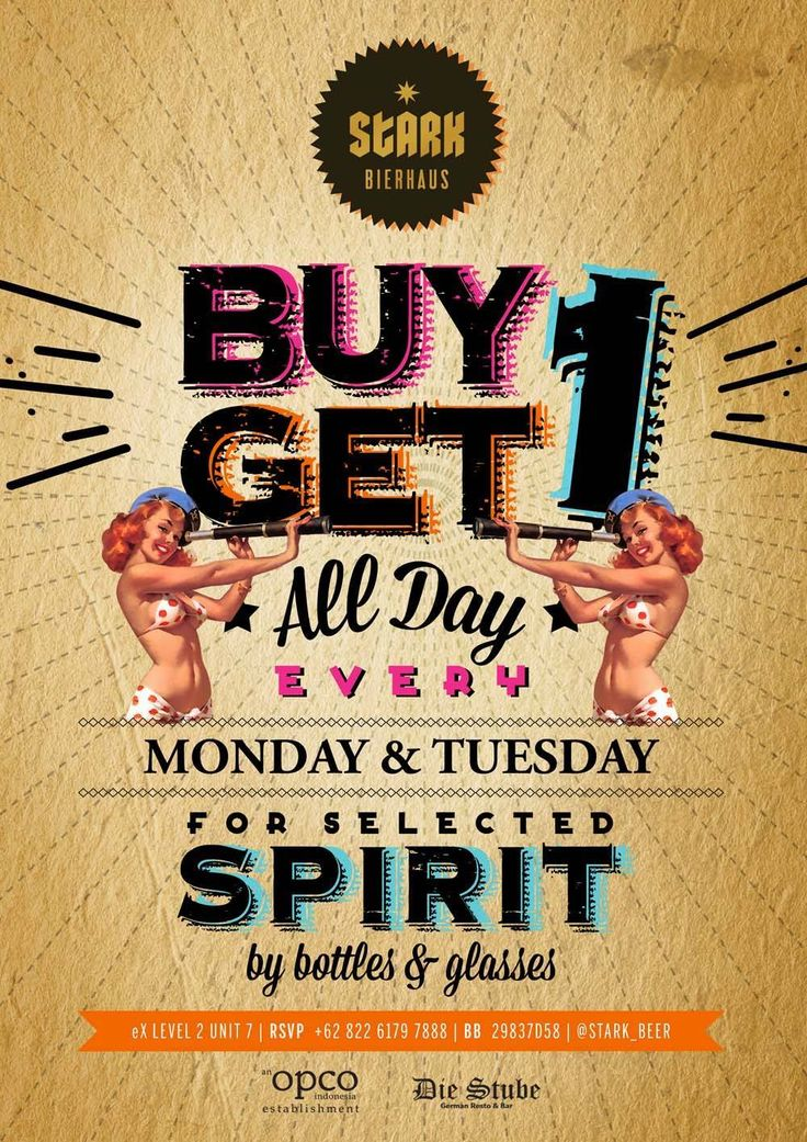 Monday - Tuesday ALL DAY BUY 1 GET 1 Be our fans to get special deals https://www.facebook.com/StarkBeer