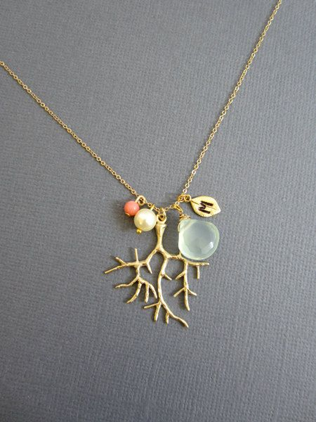 Gold Coral branch Necklace w sea foam green chalcedony, Mother of pearl, coral and Hand Stamped Initial Leaf.. $46.00, via Etsy.