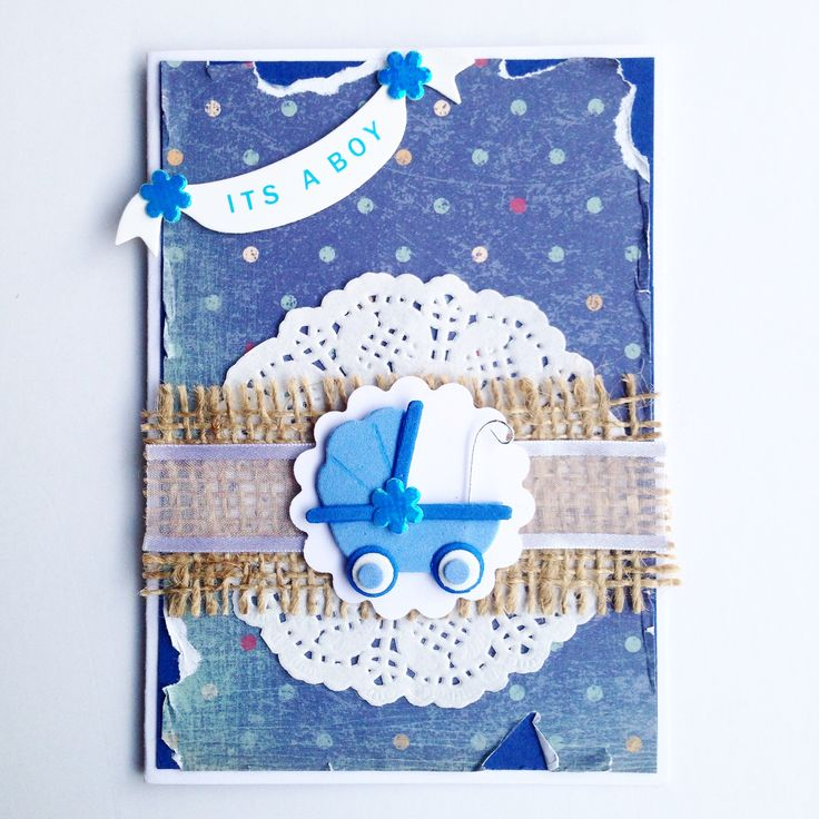 """It's a Boy"" Scrapbooking Card with Pram! Made by Pammypumpkin!"