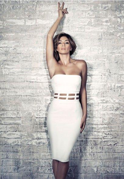 Nicole X Missguided Cage Waist Bandeau Dress White