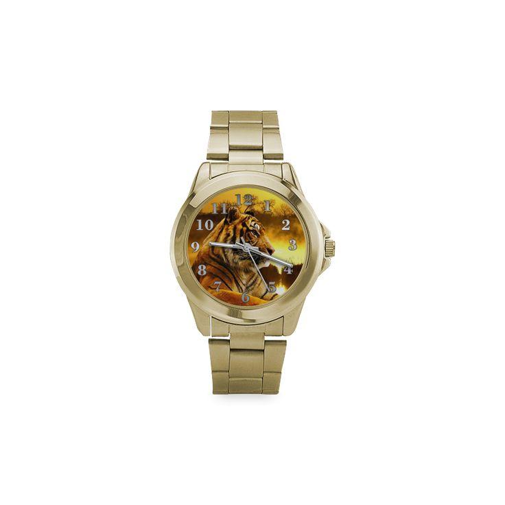Tiger and Sunset Custom Gilt Watch(Model 101)