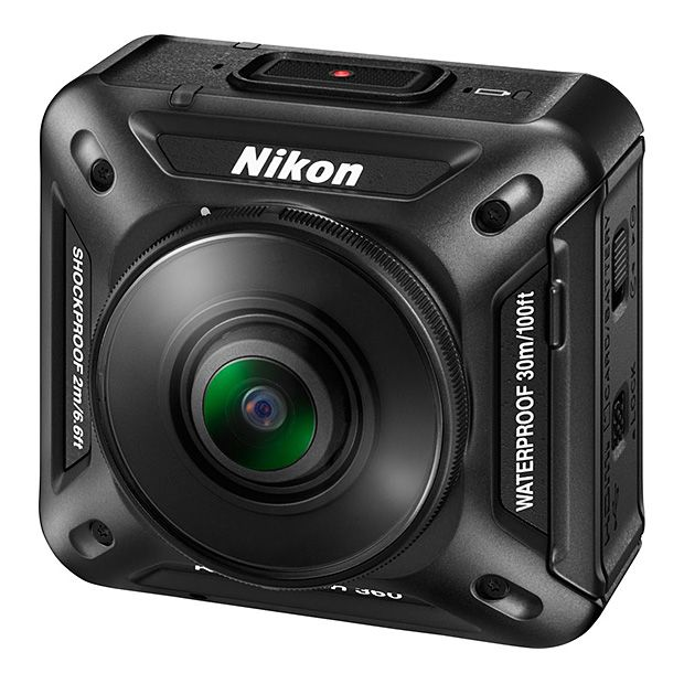 Nikon KeyMission 360 -- The release of the KeyMission 360 marks Nikon's entry into the action camera market. This compact waterproof & shockproof unit shoots 360-degree video in 4K UHD. That means VR capability—with electronic image stabilization—in the palm of your hand or strapped to your helmet. Available Spring 2016.