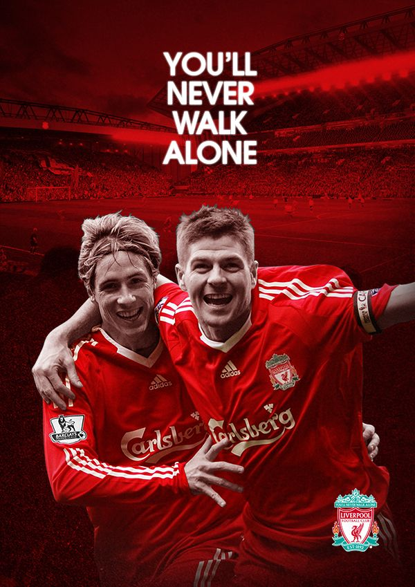 Soberstone works. Soccer. England. English Premier League. Liverpool. Torres+Gerrard. You'll never work alone. Poster. Illustration.