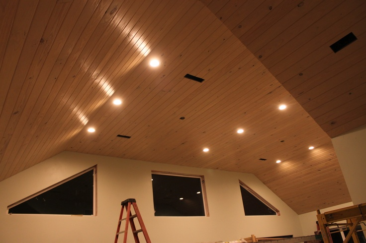 Pickled V Notch Pine Ceiling In South Alabama Sunroom