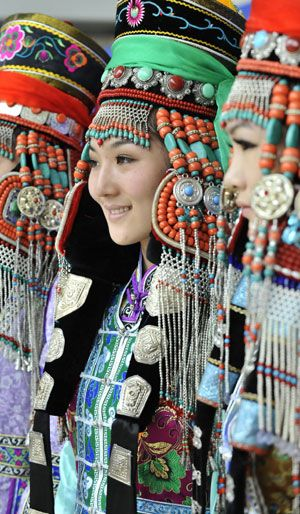 Mongolia |  The traditional headwear of Mongolian ethnic group from Ordos.  Displayed during a cultural festival in Hohhot, capital of north China's Inner Mongolia Autonomous Region.