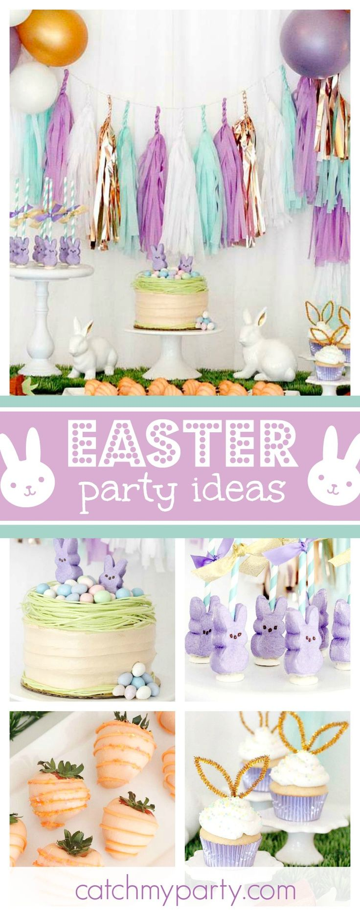 Don't miss this pretty Easter Bunny Bash! The dessert table is amazing!! See more party ideas and share yours at CatchMyParty.com