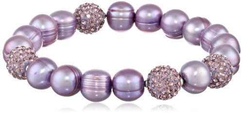 """Honora """"Pop Star"""" Freshwater Cultured Pearl and Pave Bead Stretch Bracelet, 7.5"""" *** Learn more by visiting the image link."""