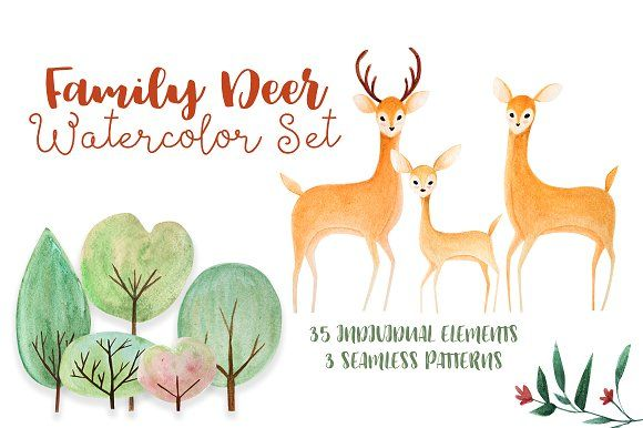 Family Deer Watercolor Set by Kim Thoa Designs on @creativemarket