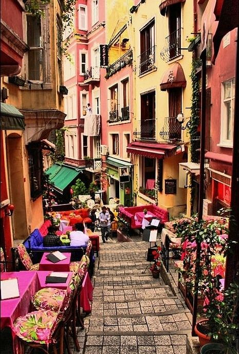 """French Street, Beyoğlu #Istanbul. """"Rue Francaise"""", with tented buildings, street musicians, cafés, bars and art centers..."""