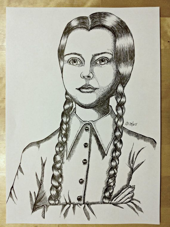Inkdrawing of Christina Ricci as Wednesday Addams by AnniCrafting