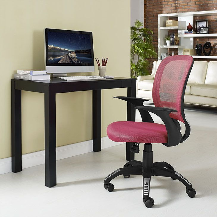 """Scope Office Chair, Burgundy - Since the proliferation of the office chair in the mid-19th century, designers have been working hard to perfect this now ubiquitous furnishing. One of the greatest advancements both in terms of style and support is a double-layered cushion process known as """"sandwich mesh."""" Scope combines the comfort of this deftly constructed waterfall seat, with a broad and breathable mesh back, to provide much needed assistance for those long hours at the office. Topped off…"""