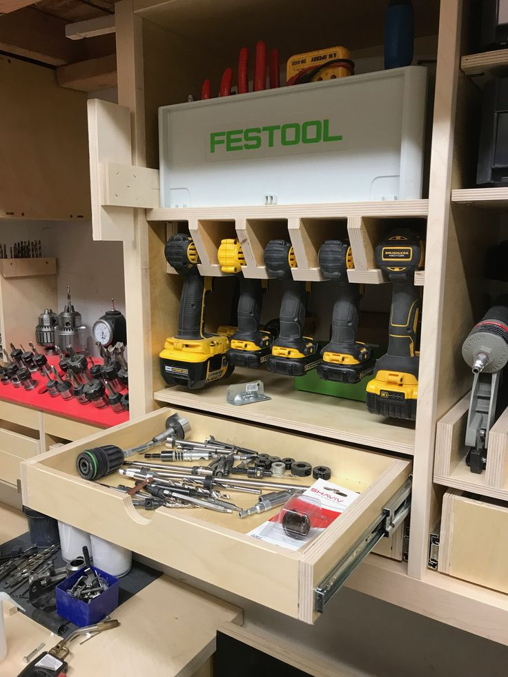 Garage Tooling Organization - Festool toolbox and Dewalt drill and impact storage with driver drawer