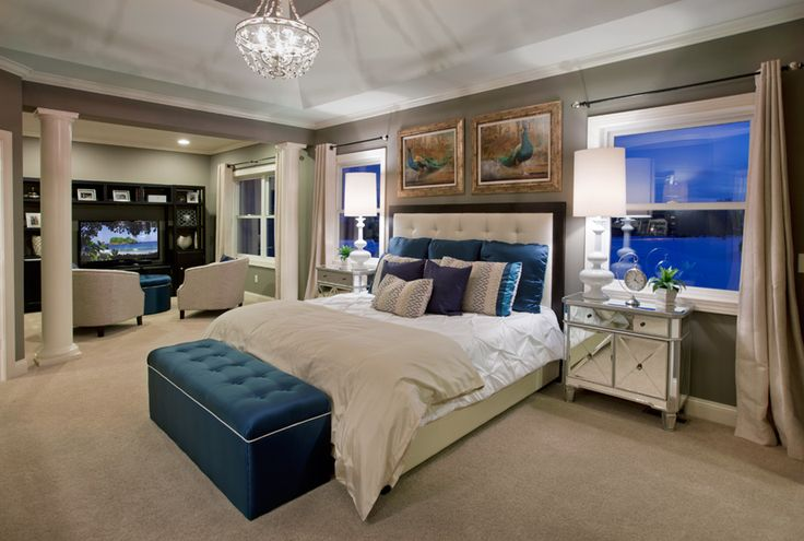 This master bedroom has a sitting area where you can watch TV. (Toll Brothers at Eden Prairie Woods, MN)